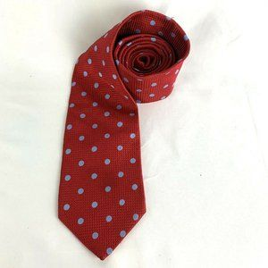 Brooks Brothers 346 Pure Silk Red Blue Polka Dot
